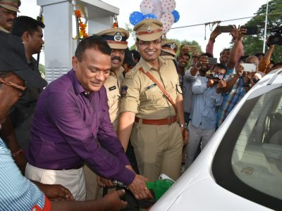 Director General of Police for Prisons and Correction Services, VK Singh inaugurating oil filling station in Asifabad on Thursday.