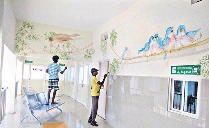 Wall Paintings To Beautify Gajwel Hospital