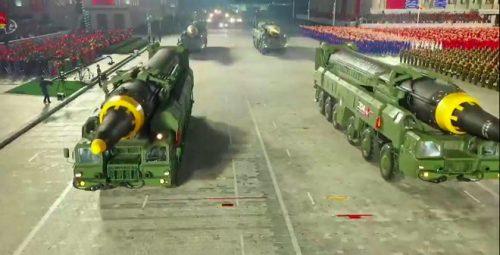 N Korea displays new ballistic missile at military parade
