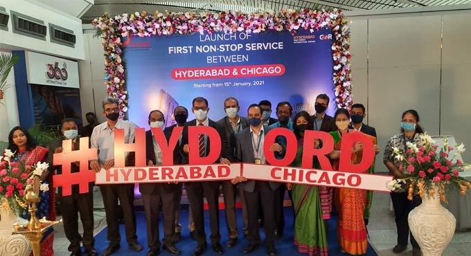 Air India's maiden Chicago-Hyderabad  flight lands at RGIA