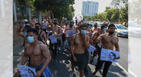 Myanmar-demonstrators