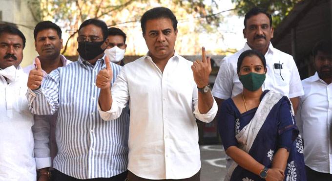 Graduates MLC Elections: KT Rama Rao casts vote in Hyderabad
